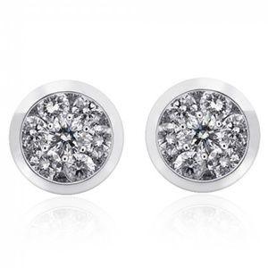 1.50 Carat Round Cut Diamond Halo Gold Earrings
